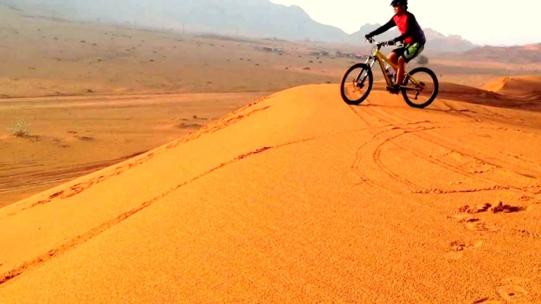 biking in desert