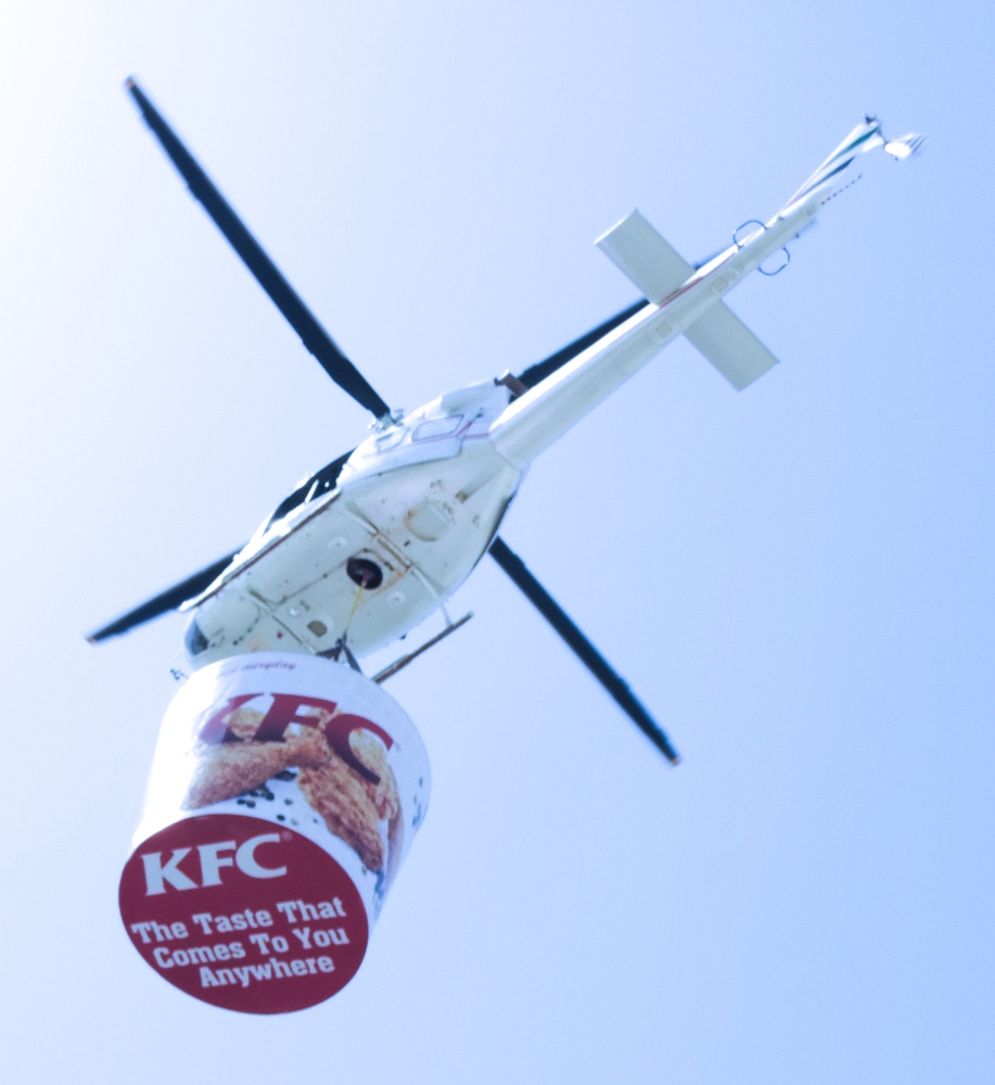 Giant KFC bucket soars the sky